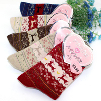 OLN Fashion New Winter Keep Warm Thick Rabbit Wool Women's EU36 47 Socks Middle Long Retro Geometric Deer Pattern 5 pairs/dozen