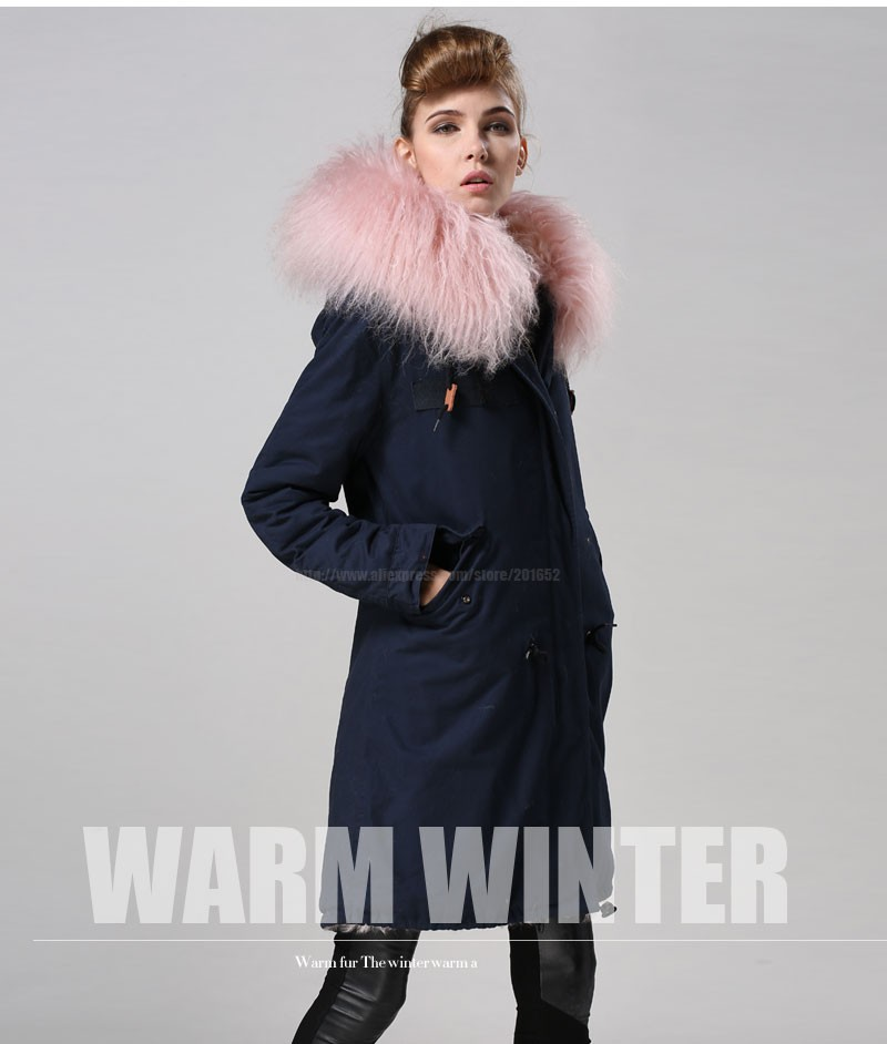 Free Shipping factory direct 1 Pc Winter Women Warm wool Fur Collar hooded long coat Jacket hoodie quilted Puffer blue mr parka 29