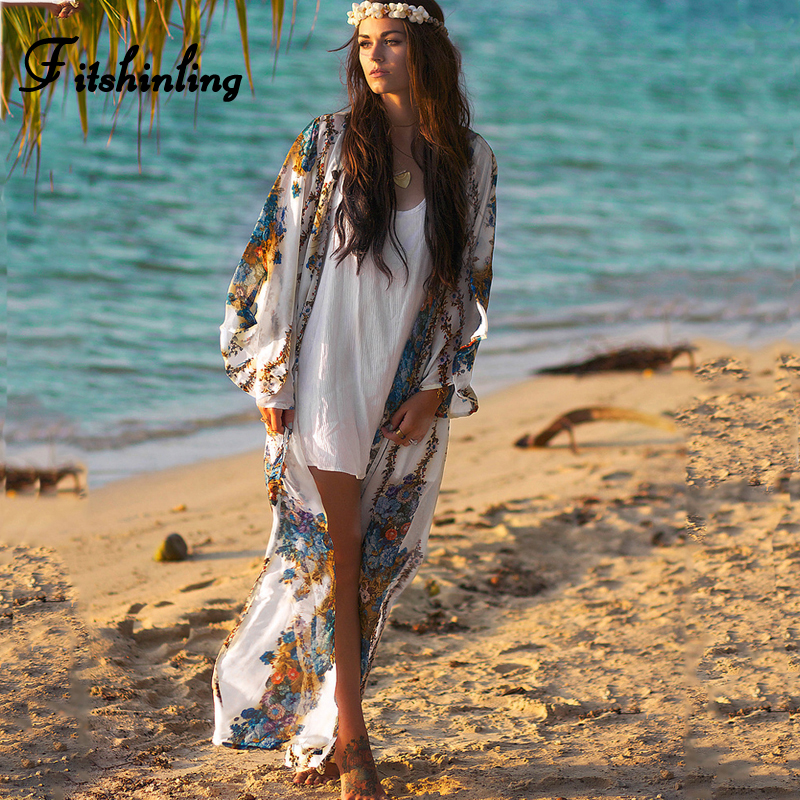 Fitshinling Vintage print floral chiffon beach cover up 2019 autumn holiday long cardigan flare sleeve bohemian sexy cover-ups