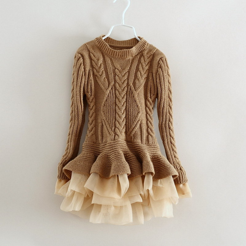 1e23654f28e European and American Children s Clothing Autumn Knitted Long Sleeve Girl s  Organza Sweater Baby Girl Winter Clothes 2-8 Ages
