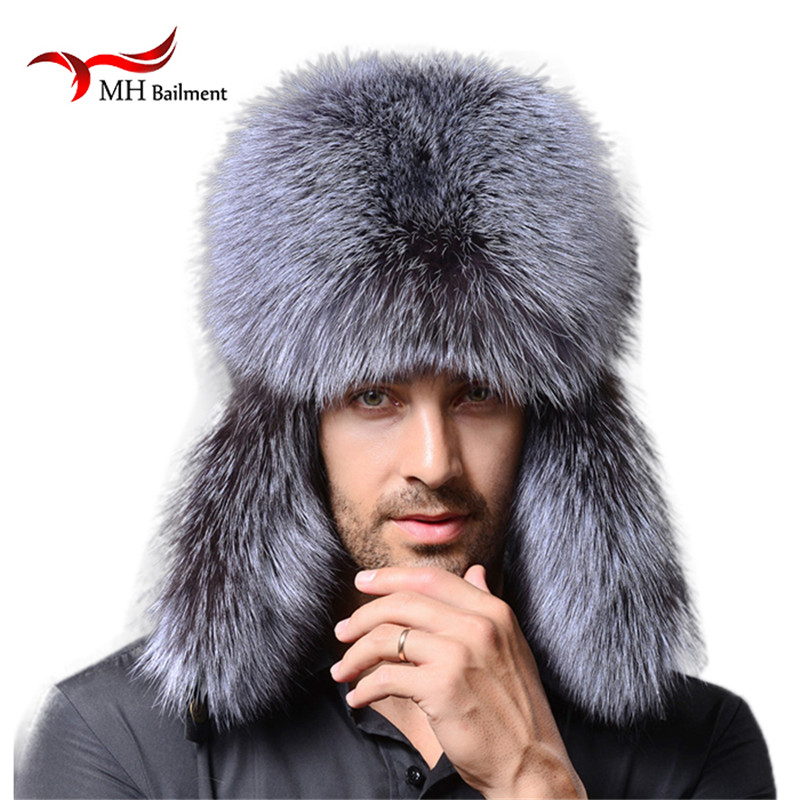 Men winter fur hat genuine leather bomer for men ear protect raccoon cap thick warm good quality M#1