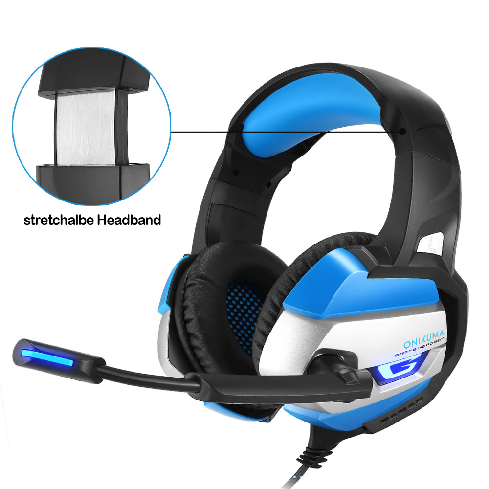 ONIKUMA K5 Gaming Headphone Deep Bass Game Headset with Noise Isolation Microphone LED Light for PS4 Xbox One S PC Mobile Phone