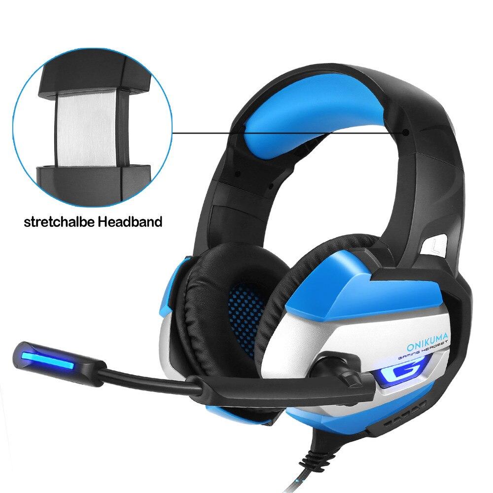 ONIKUMA K5 Gaming Casque Deep Bass Jeu Casque avec Isolation Phonique Microphone LED Lumière pour PS4 Xbox Un S PC Mobile Téléphone