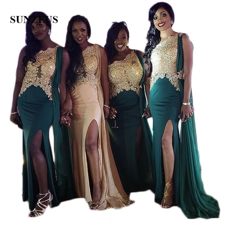 Une épaule robes de demoiselle d'honneur africaines Appliques d'or avec perlée charmante robe formelle pour les femmes jambe fente robes de soirée SBD129
