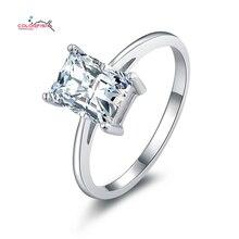 Esmeralda Cut Solitario Anillo de Compromiso de Plata 925 Anillos de Bodas De la Mujer Rectángulo Cz Diamond Joyería anéis feminino anillos