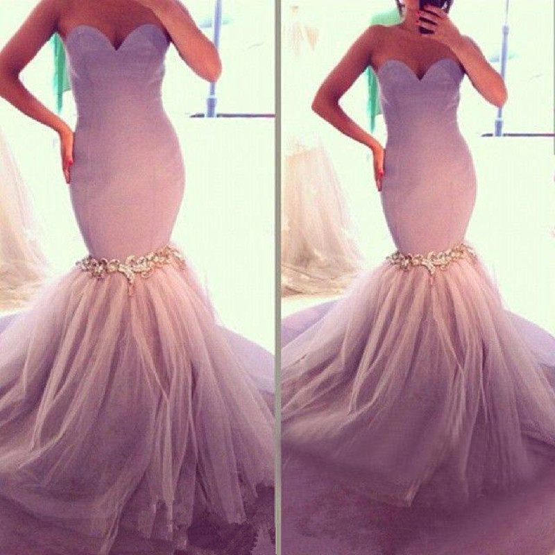 Sexy Sweetheart Backless Prom Gown Tulle Appliques Floor Length Mermaid Evening Dress For Wedding Party Custom Made