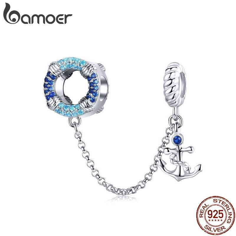 BAMOER אמיתי 925 סטרלינג כסף ים כחול תליון שרשרת בלם חרוזים fit קסמי צמידים לנשים תכשיטי SCC1149