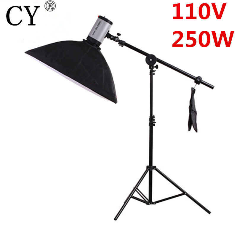 CY Photography Studio Soft Box Flash Lighting Kits 110V 250ws Flash Light+Softbox+Stand+Boom Arm Photo Studio Set Godox 250DI