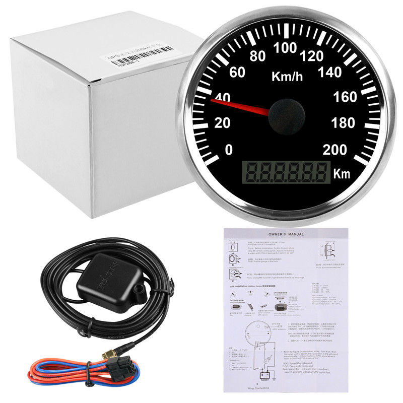 Universal 85mm GPS Speedometer Speedo 200km h For Car Truck Motor Auto With Backlight 12V 24V