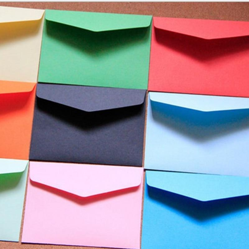 100pcs/set Vintage 11*8cm Small Colored Pearl Blank Mini Paper Envelopes Wedding Invitation Envelope /gilt Envelope/12 Color