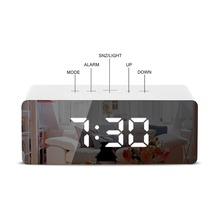 Desktop Digital Mirror Alarm Clock Snooze Electronic Desk Clock Wake Up Light With Large Time Temperature Display For Home Decor