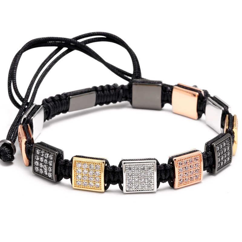 Mcllroy bransoletki plecione kwadratowe inkrustowane cyrkonią bransoletki z charmsem regulowane ręcznie miłośnicy mody bransoletka męska i damska biżuteria joga