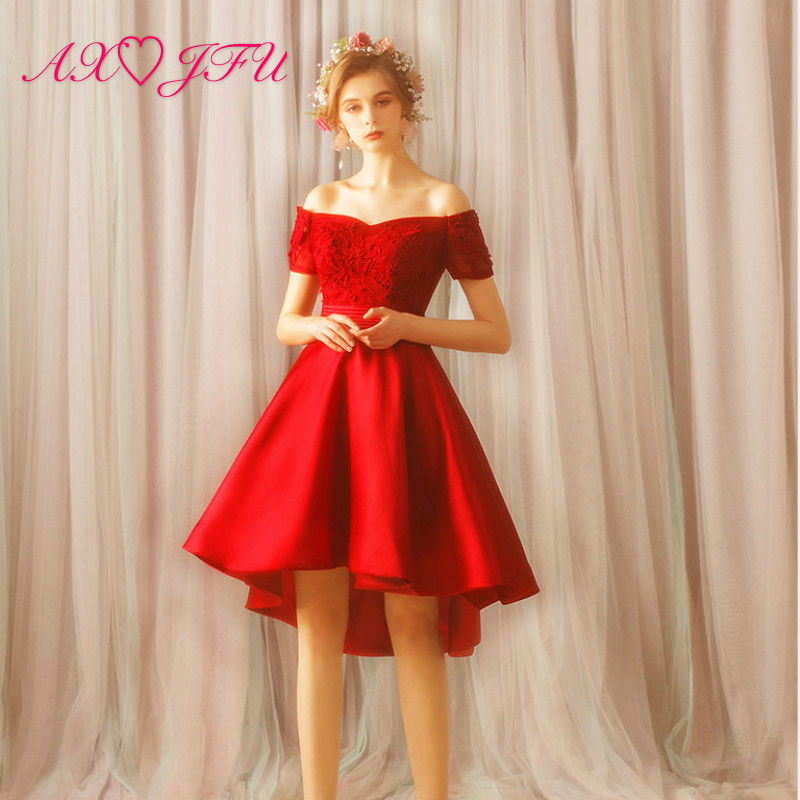 AXJFU princess red flower lace   evening     dress   vintage bride boat neck high/low rose red   evening     dress   2318t