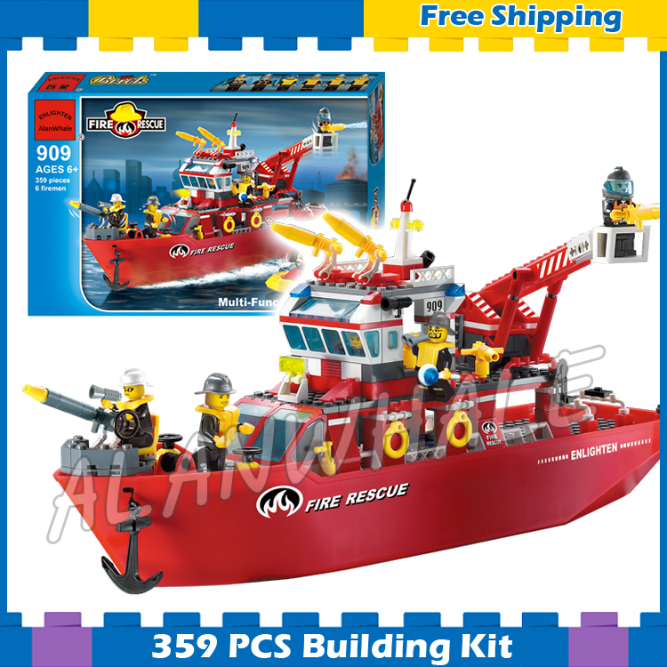359pcs New City Fire Ship Boat Rescue station Firefighter Fireboat 909 Model Building Blocks Children Sets Compatible with <font><b>Lego</b></font> image