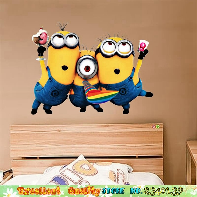 Lucu Minions Wall Stiker Untuk Kamar Anak anak Dinding DIY Rumah Laki laki Perempuan Kamar