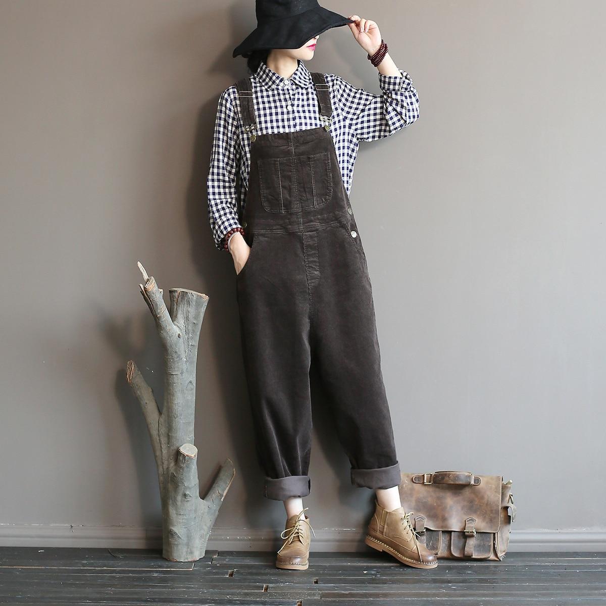 Johnature 2018 Autumn Winter New Original   Jumpsuits   Cotton Corduroy Women Vintage Loose Strap Thick Warm Pocket Casual   Jumpsuits