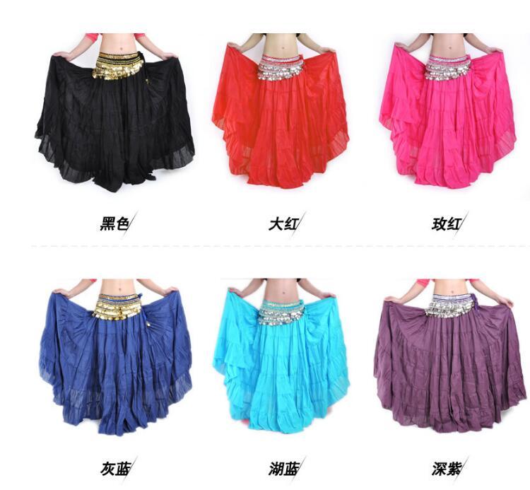 Bohemian rok, Penari suku, Rok tari perut, Gypsy tari perut rok besar, Rok kostum, Padat 10 warna Linen