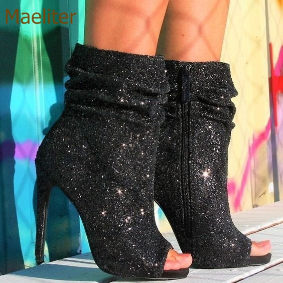 Здесь продается  Women Sexy Black Bling Bing Sequined Short Boots Peep Toe Pleated Dress Shoes Gliterring Paillette Chic Ankle Boots Party Shoes  Обувь