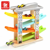 Kids Montessori Wooden Concentration Learning Toy Baby Plastic Model Slide Rail with 4 cars of Visual Tracking Early Learning