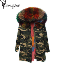 YOUMIGUE 2016 Luxury Women Coat Fur Detachable Real Raccoon Fur Collar And Real Fur Lining Female Slim Plus Size Coats Winter