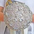 Accesorios Broche ramo de boda de Lujo de Marfil caliente Gris Crystal Wedding Bouquet de Seda de flores de La Boda Ramos de Novia