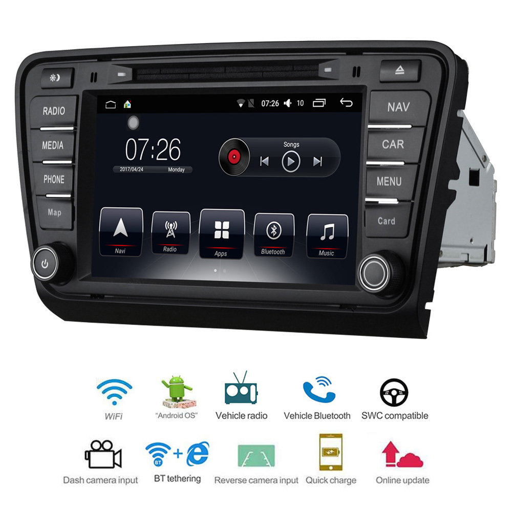 Lecteur multimédia de voiture 2 Din Android 7.1 DVD de voiture pour VW/volkswagen Skoda Octavia A7 2013-2014 8