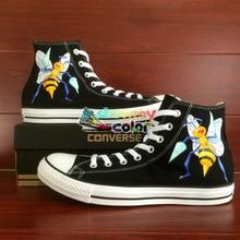 Honeybee Original Design Converse All Star Black Women Men Shoes Pokemon Go Beedrill Bee Hand Painted Shoes Custom Sneakers