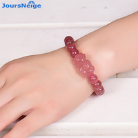 Wholesale Strawberry Natural Crystal Bracelets Beads With Charming Fox Pendant Bracelet Lucky Beauty for Women Crystal Jewelry