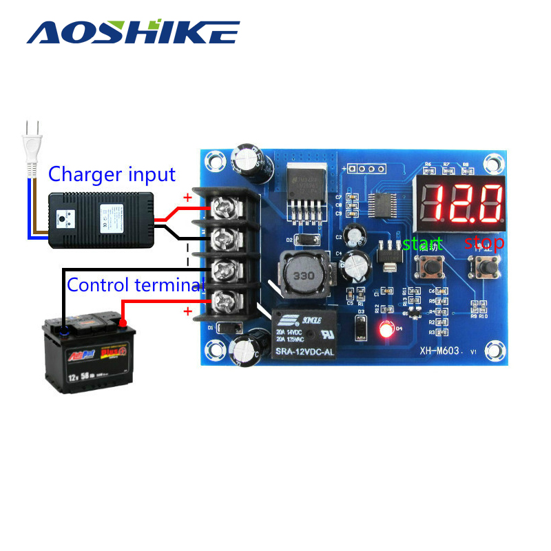 Aoshike  CNC Battery Lithium Batteries Charge Controlled Module Battery Charging Control Protection Switch 12-24V 30a 3s polymer lithium battery cell charger protection board pcb 18650 li ion lithium battery charging module 12 8 16v