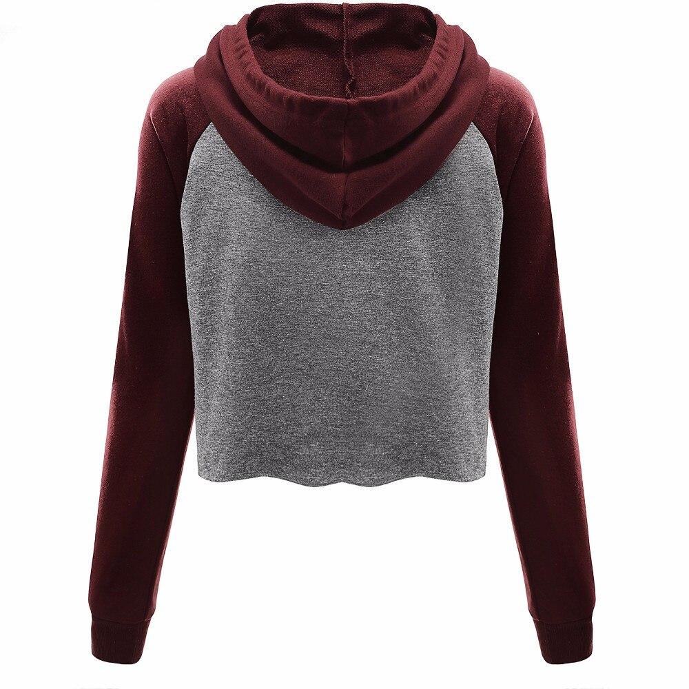 2017 Women Hoodies Casual Women Long Sleeve Round Neck Hoodies Sweatshirt Womens American Apparel Fashion Crop Hoodies Pullover