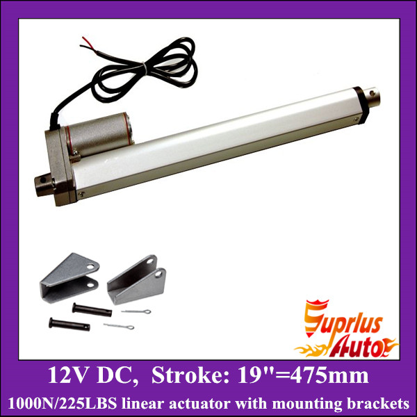 12v linear actuator with mounting brackets, 19inch/ 475mm stroke with 1000N/ 225lbs load electric linear actuators12v linear actuator with mounting brackets, 19inch/ 475mm stroke with 1000N/ 225lbs load electric linear actuators