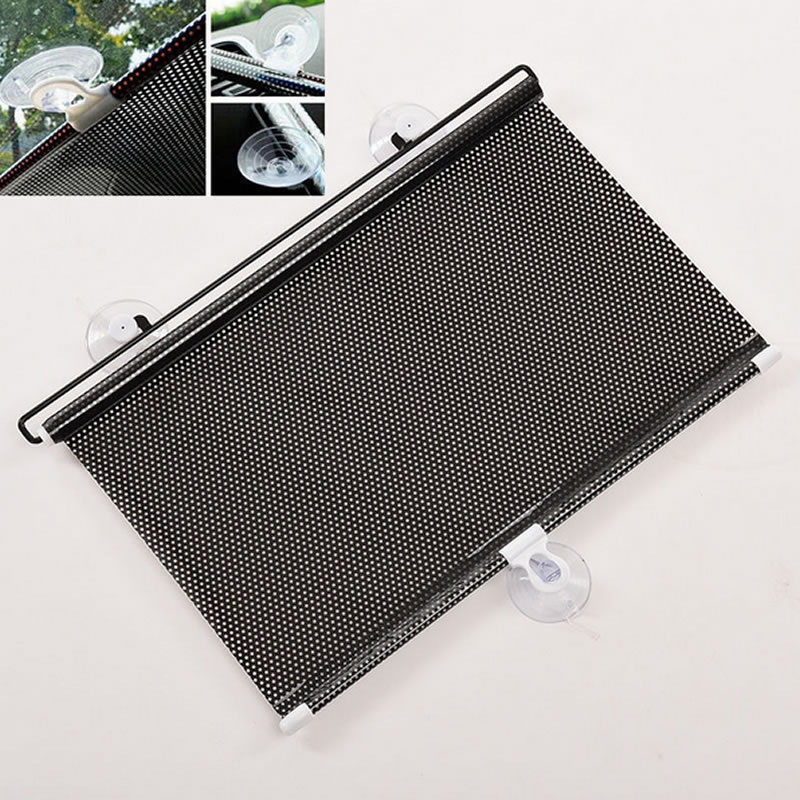 Black 45 x125cm Car Auto Window Roll Blind Sunshade Windshield Sun Shield Visor title=