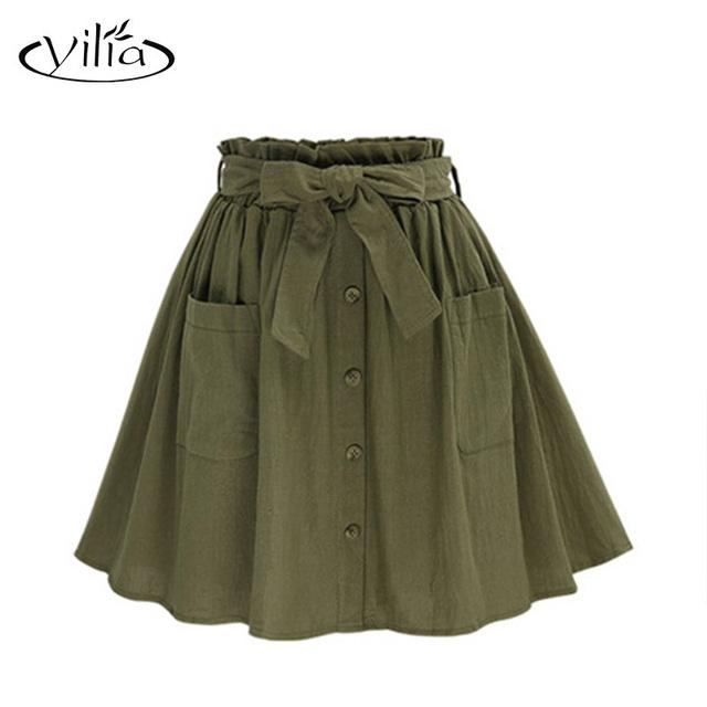 Yilia Moda Casual Mujeres Plisado Falda de Midi Botones Frontales Bolsillo Ropa de Una Línea Verde Del Ejército Faldas Hasta La Rodilla de Algodón 2331