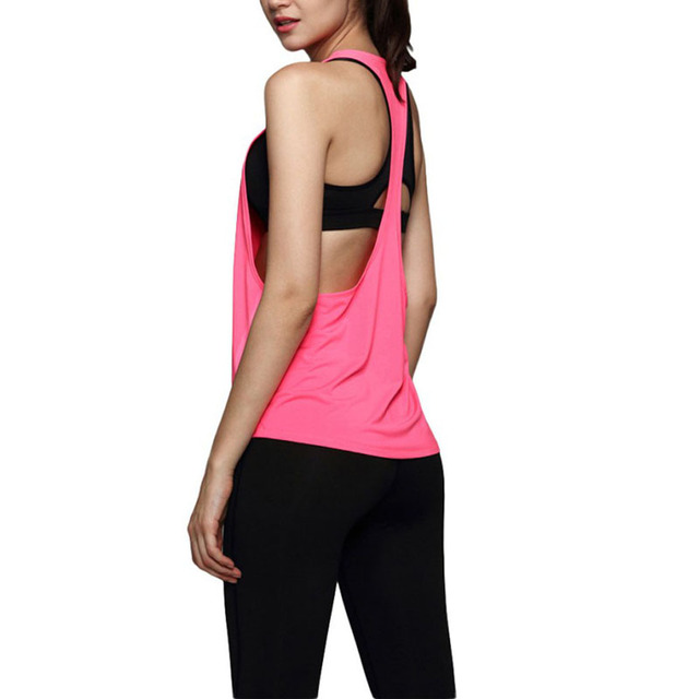 ba6a80f1cbffda Outdoor Summer Women Sexy Loose Gym Sports Vest Training Running Tank Tops  Yoga Vest -in Running Vests from Sports & Entertainment on Aliexpress.com  ...