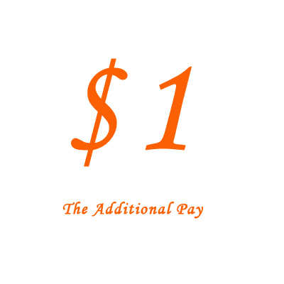 $1 เพิ่มเติม Pay บน Order สำหรับราคาความแตกต่าง