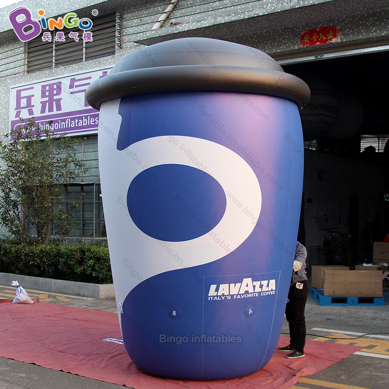 Personalized Airtight 10 Feet Big Inflatable Coffee Cup / Pvc Air Sealed Inflatable Cup Floating In The Sky Toys