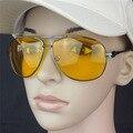 5pcs/lot man & women HD High Definition Night Driving Glasses Yellow Lens Sunglasses Gun Frame Unisex Protective Goggles 8740