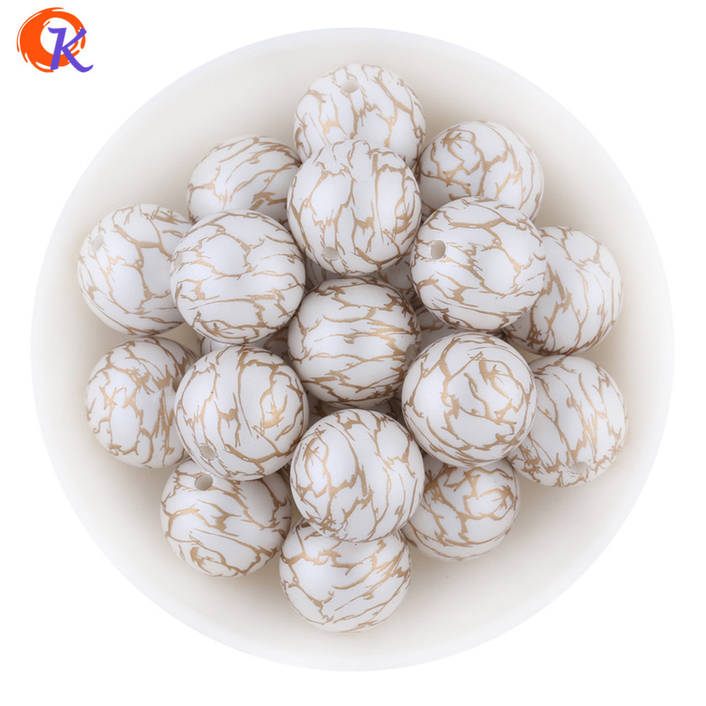New Arrival Cordial Design 20MM 100Pcs/Lot Gold Printing White Color Matte Pearl Beads For Kids Chunky DIY Jewelry CDWB-701285 100pcs lot isd1820py dip 14 new origina page 9
