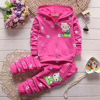 2017 Spring Autumn Baby Girls Clothes Set Cartoon Hello Kitty Casual Sport Hoodied Suit Children Cardigan