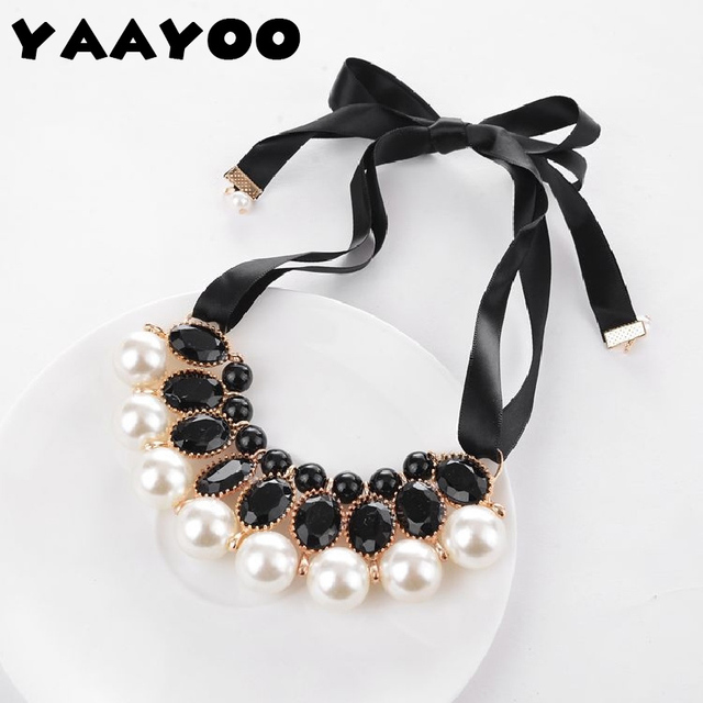 YAAYOO New Temperament Big Imitation Pearl Resin Necklace & Pendant Ribbon Statement Necklace Women Collar Jewelry