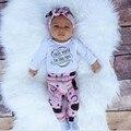 Primavera/Otoño Bebé infantil Niñas Ropa de Algodón Establece 4 unids/set Venda Del Casquillo y de manga larga Mono Mameluco y pantalones