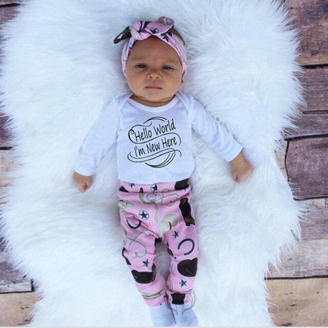 Spring / Autumn infant Baby Boy Girls Cotton Clothing Sets 4pcs /set Headband& Cap & long sleeve Jumpsuit Romper &pants