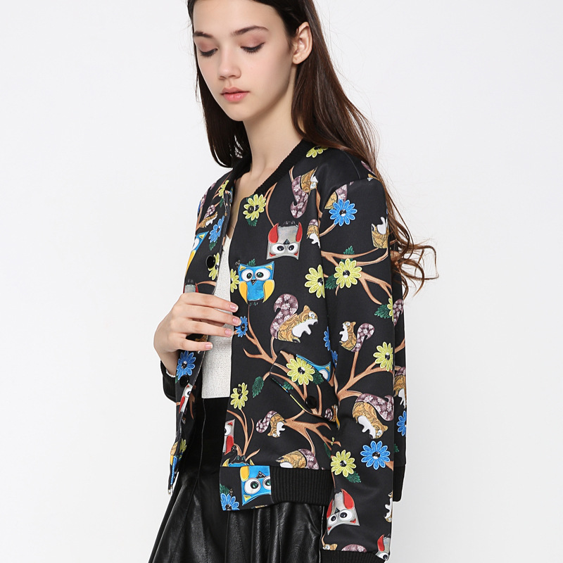 2018 Spring Coat Women Owl Print Crop   Jacket   Coat Standard Collar Outwear   Basic     Jackets   Jaquetas Feminino bomber   jacket   WWT16778