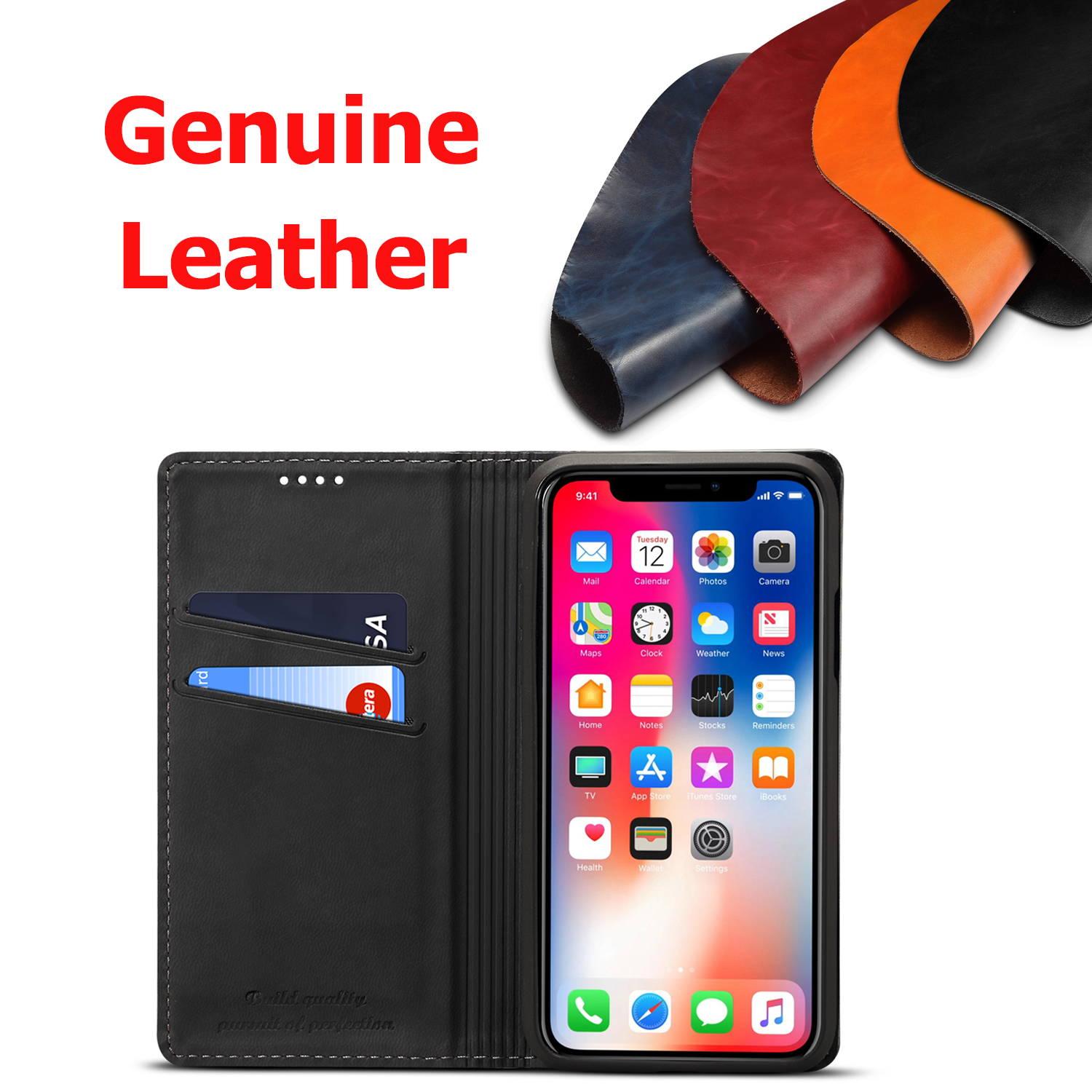 Phone Case For iPhone 7 8 Plus Genuine Leather Case iPhone XR XS Max Cover High Quality Luxury Flip Switch Phone Coque in Wallet Cases from Cellphones Telecommunications