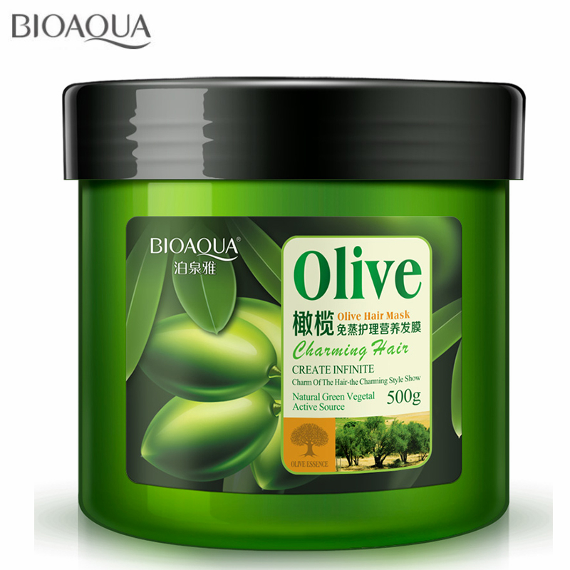 BIOAOUA Natural Hair Care Olive Oil Hair Mask Moisturizing Deep Repair Frizz For Dry Damaged Hair Nutrition Conditioner 500ML