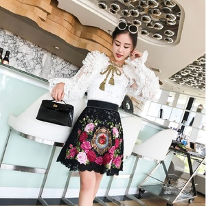 Image 3 - 2020 Runway Luxury Floral Rose Embroidery Women Black Christmas Mini Skirt Winter High Waist A Line Lace Female Party Clothes
