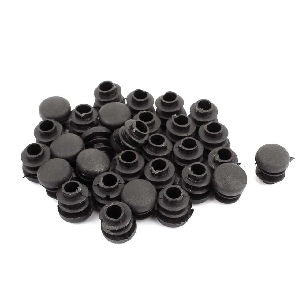 UXCELL 30pcs Plastic Round Ribbed Tube Inserts End Blanking Caps Black 14mm Diameter Hot Sale
