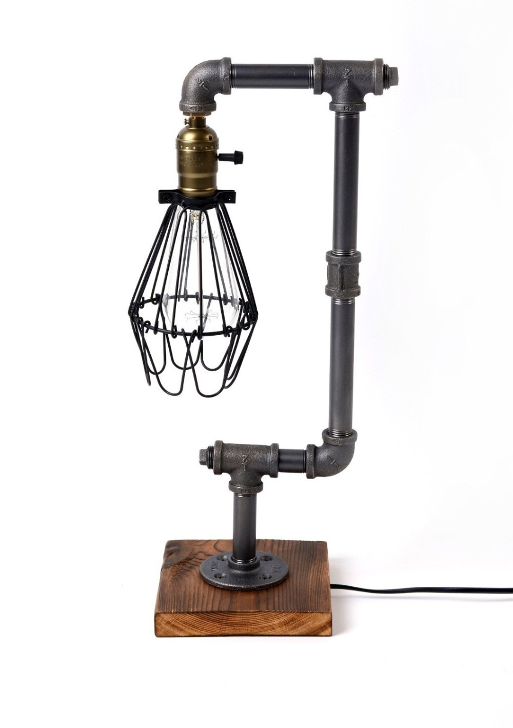 Table lamp vintage style - Loft Living Designer Lifestyle Cage Water Pipe Desk Light Table Lamp Led Antique Steel Piping Retro
