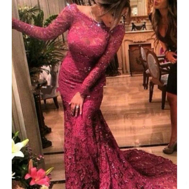 Burgundy Muslim   Evening     Dresses   2019 Mermaid Long Sleeves Lace Beaded Islamic Dubai Saudi Arabic Long   Evening   Gown Prom   Dress