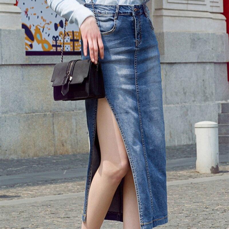 xl mollet Livraison 2018 Mi Taille Xs Jupes Jupe Jeans Femmes Fente Haute Avec Gratuite Sexy Summer Denim Nouveau Latérale Crayon Stretch Long rrTn8pq